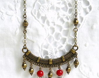 red bohemian necklace boho necklace boho jewelry red jade necklace red gypsy necklace red bohemian jewelry gypsy jewelry ethnic necklace