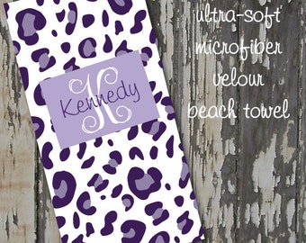 monogrammed CHEETAH beach towel - huge 30x60 ultra-soft microfiber velour