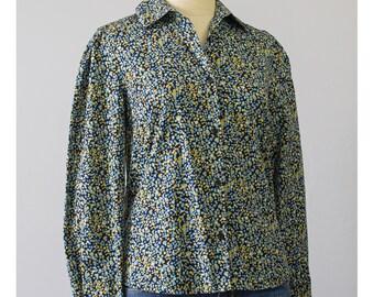 Polka Dot Shirt - 80s Blouse - Abstract Shirt - Black Cotton Blouse - New Wave Hipster 1980s Shirt - Polka Dot Blouse (M)