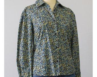 SALE - Polka Dot Shirt 80s Blouse Abstract Shirt Black Shirt Cotton Blouse New Wave Hipster Shirt 1980s Shirt Polka Dot Blouse