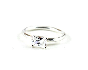 Promise ring - cz emerald cut ring - clear cz diamond ring - alternative engagement ring