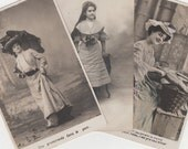 Vintage French Postcards Three Lovely Ladies for Collage or Collections