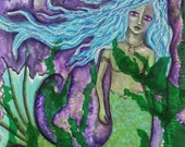 DARK WATERS, Mermaid, Imagination, Intuitive, Mystical, ACEO, Print, mixed media, Art, Beach, Dreamy, mixed media artist, Alicia J Hayes