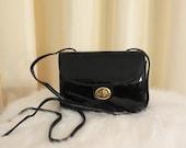 Vintage 80s Black Vinyl Shiny Shoulder Crossbody Box Bag Case