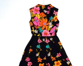 Alice Polynesian Fashions Jumpsuit Vintage Black Flower Power Palazzo Pants Tiki Loungewear one piece pantdress 60s 70s hostess Cocktail