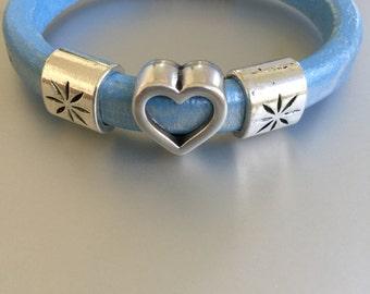 Heart and Design Silver Slide Bracelet