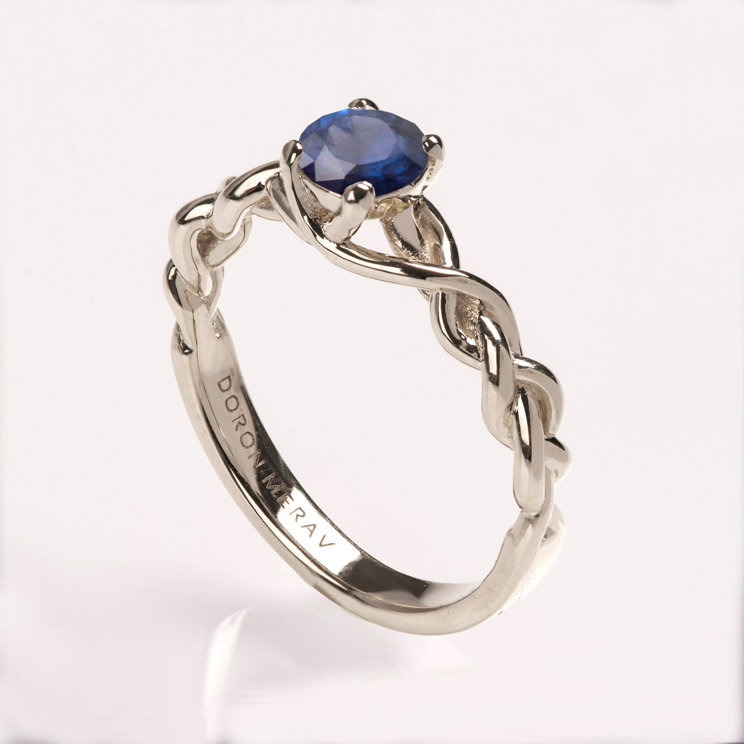 braided engagement ring no 2 14k white gold and sapphire