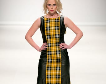 alternative gown with plaid and faux leather