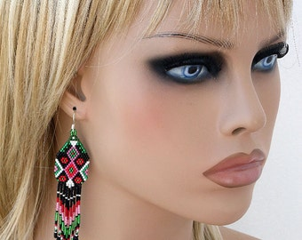 Ethnic Earrings, Seed Bead Earrings, Colorful Fringe Beaded Earring American Native style, Beaded Jewelry Red Black Green Pink Peyote Stitch