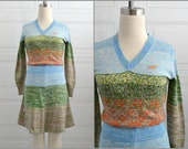 1970s Mother Nature Landscape Knit Sweater Dress