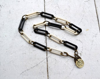 1970s Black and White Link Necklace