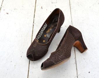 1940s Rhythm Step Brown Peep Toe Suede and Mesh Heels