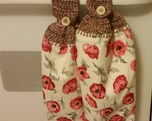 Laura Ashley Freshford Cranberry Hanging Kitchen Fingertip Towel christmas holiday themed Red Poppies cranberries