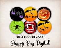 Halloween Digital Images 1 inch Circles - for Glass Tile Pendants, Magnets and Bottle Caps INSTANT DOWNLOAD