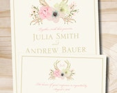 Rustic Watercolor Floral Antlers Wedding Invitation and Response Card - printed sample set