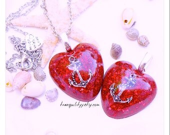 Anchor Heart Necklace ,Sailor Girl Red Diamond Glitter  Puffy Heart  Nautical Anchor  Pendant Necklace Handmade By: Tranquilityy