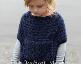 Crochet Pattern - Osyan Cape Pullover (2/3, 4/5, 6/7, 8/9, 10/11, 12/14, Small, Medium, Large sizes)