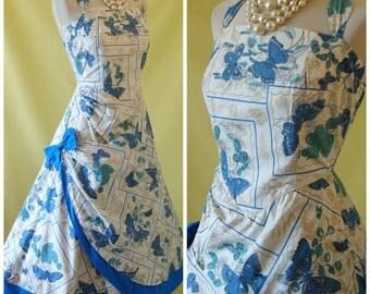 REDUCED - 1950s Sun Dress / 50s Summer Dress / Novelty Butterfly Print / Wrap Sarong Skirt / Boned Bodice / Halter Neck / XS Extra Small