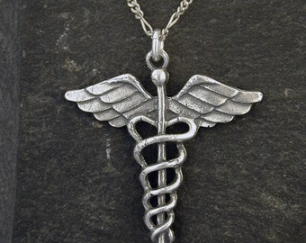 Sterling Silver Staff of Hermes, Caduceus Pendant on a Sterling Silver Chain
