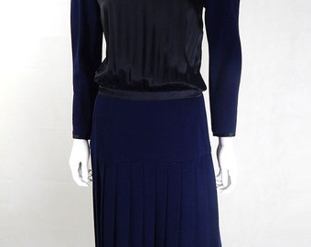 Original Vintage 1980s CHANEL Wool and Silk Dress UK Size 8/10