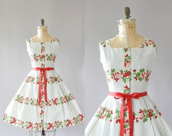 Vintage 50s Dress/ 1950s Cotton Dress/ Mode O' Day Pin Striped Cotton Dress w/ Red and Green Floral Print M/L