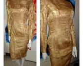 1950's Golden Goddess  Gold Lame Wiggle Dress Brocade Metallic Hourglass Drape Pencil Skirt Sexy 60s Bond Bad Girl 27 Waist Rockabilly VlV
