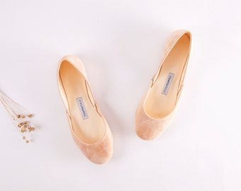 Beige Nubuck Leather Ballet Flats | Ballet Pumps | High Fashion Handmade Pointe Style Flats | Beige Velvet...Made to Order