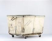 Canvas Laundry Cart, Vintage Canvas Laundry Cart, Cart On Wheels, Utilitarian Decor, Industrial Decor, Industrial Canvas Cart, Old Cart