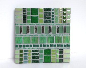 Small Mosaic Art, Green Wall Art, 6x6 abstract mosaic artwork, Green Home Decor