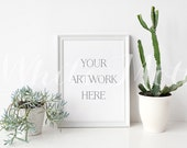 8x10 White Frame - (Portrait)  Empty Frame, Stock Photo, Styled Photography, Mock up, prints, illustration, painting