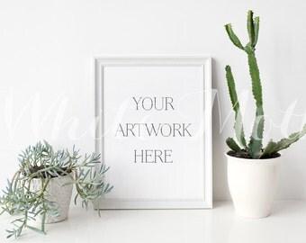 8x10 White Frame - (Portrait)  Empty Frame, Stock Photo, Styled Photography, Mock up, prints, illustration, painting