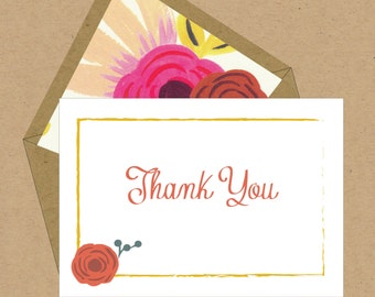 BOX OF 12 Floral Thank You Notes