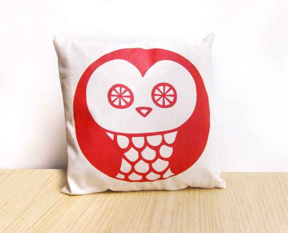 Handmade Throw Pillow -  Red Decorative Cushion Insert included · Owl cushion · Decorative pillow cover + insert · Cushion printed by Olula
