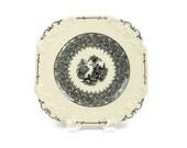 Square Transferware Plate / Black & White Transfer / George Jones and Sons / England / c1910s