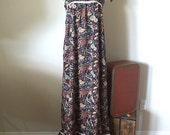 70s Wild Peacock Bohemian Print Maxi Sundress/ beautiful Earthy vintage cotton dress/ small tent caftan dress/ S