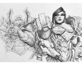 Pharah Giclee print of pencil drawing of Offense character from the video game Overwatch