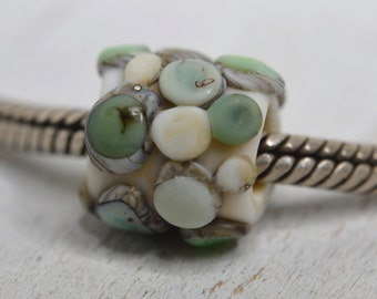 NEW! large hole tube pebble lampwork bead, SRA handmade, matte finish in soft green, aqua and ivory for charm bracelet  P70516-5