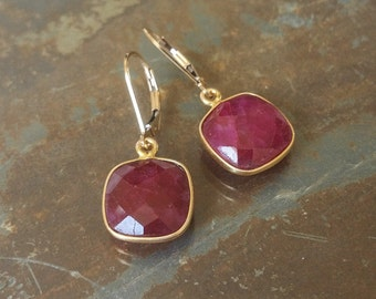 Gold Ruby Bezel Earrings