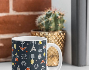 Ceramic Mug Bold Graphic Floral Pattern Coffee Tea Cup