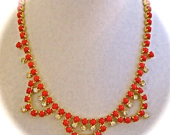 Vintage GLAM RED Colored Bead Clear RHINESTONE Choker Gold Tone