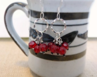 Red Glass Cluster Earrings, Sterling Silver Earrings, Red and Black Beads, Dangle Earrings
