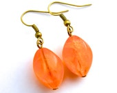 Orange Vintage German Ice Flake Twisted Ovals . Earrings