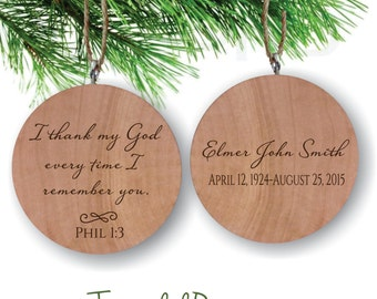 Remembrance Personalized Ornament, In Memory Christmas Ornament, Engraved Wood, I thank my God every remembrance Phil 1, Christmas Ornament