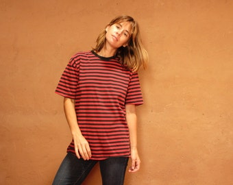 90s striped OXFORD soft SPRING t shirt top red and blue shirt