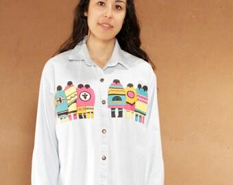90s denim SOUTHWEST VINTAGE Kachina long sleeve shirt