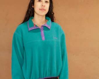 90s PATAGONIA style fleece jacket HOODIE parka teal blue green flannel soft sweatshirt by CHAMPION