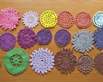 20 Imperfect Hand Dyed Vintage Crochet Doilies, Small Craft Doilies with Damage
