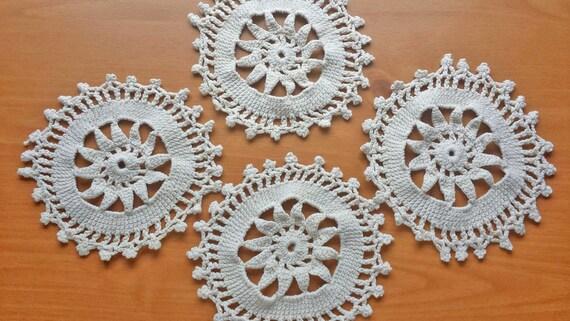 Set of Four Vintage Handmade Crochet Doilies, Beige Color