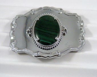 Vintage Malachite Metal Belt Buckle
