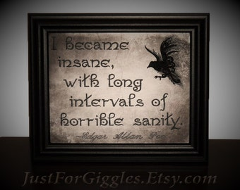 """Edgar Allen Poe quote Framed Embroidery 8x10 inch """" Horrible Sanity """" raven mixed media sign"""